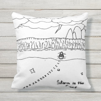Storm in sea outdoor pillow