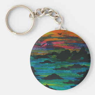 Storm in the distance basic round button keychain