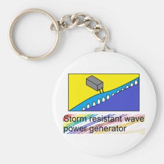 Storm Resistant Wave Power Generator Keyring Basic Round Button Keychain