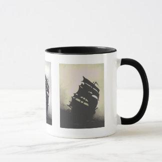 storm ships hand-painted mug