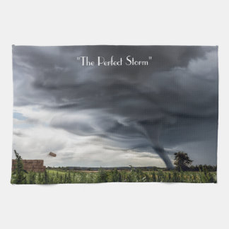 Storm tornado or twister lifing bales bad weather kitchen towel