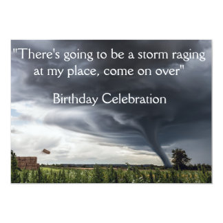 Storm tornado or twister lifing hay bales card