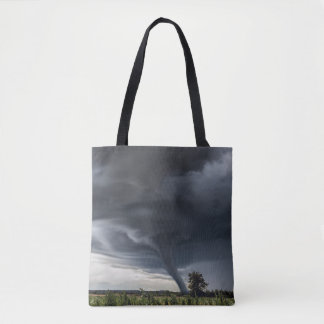 Storm tornado or twister lifing hay bales tote bag