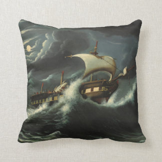 Storm Tossed Frigate by Thomas Chambers Throw Pillow