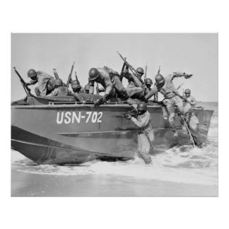 Storming the Beach 1940s Poster