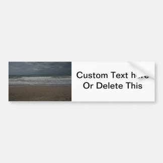 Stormy beach ocean view bumper sticker
