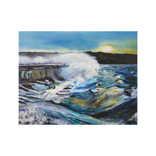 Stormy breakwater wrapped canvas print