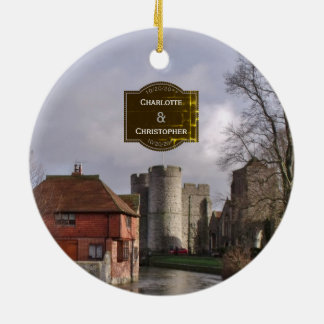 Stormy Castle And River Personalized Wedding Ceramic Ornament