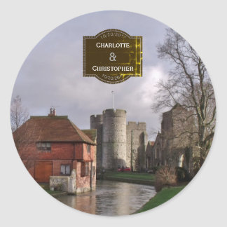 Stormy Castle And River Personalized Wedding Classic Round Sticker
