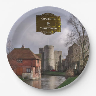 Stormy Castle And River Personalized Wedding Paper Plate