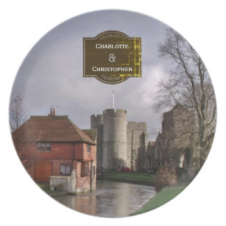 Stormy Castle And River Personalized Wedding Plate