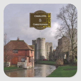 Stormy Castle And River Personalized Wedding Square Sticker