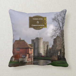 Stormy Castle And River Personalized Wedding Throw Pillow
