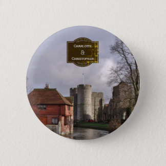 Stormy Castle And River Wedding Button