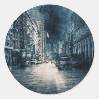 Stormy Cityscape Classic Round Sticker