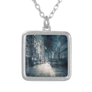 Stormy Cityscape Silver Plated Necklace