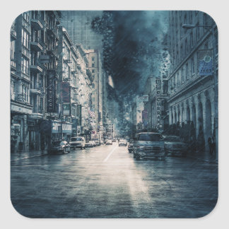 Stormy Cityscape Square Sticker