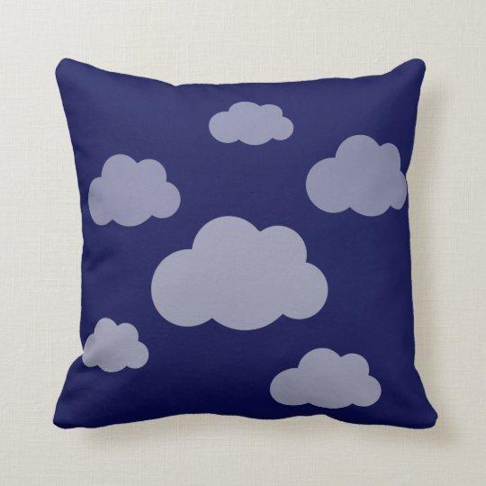 Stormy clouds indigo blue throw pillow