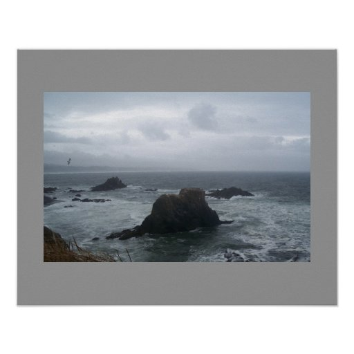 Stormy Day Oregon Coast Poster