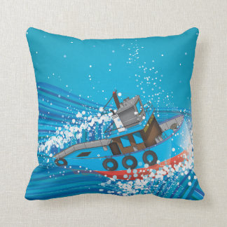 Stormy Fishing Boat Throw Pillow