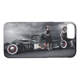 Stormy Night Rat Rod Pickup Truck Pin Up Girls iPhone 8/7 Case