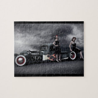 Stormy Night Rat Rod Pickup Truck Pin Up Girls Jigsaw Puzzle