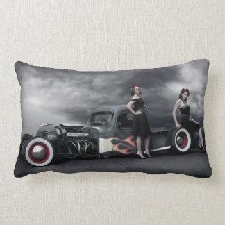 Stormy Night Rat Rod Pickup Truck Pin Up Girls Lumbar Pillow