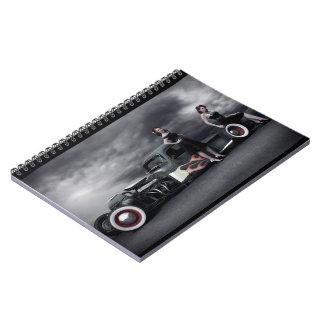 Stormy Night Rat Rod Pickup Truck Pin Up Girls Notebook