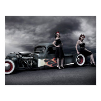 Stormy Night Rat Rod Pickup Truck Pin Up Girls Postcard