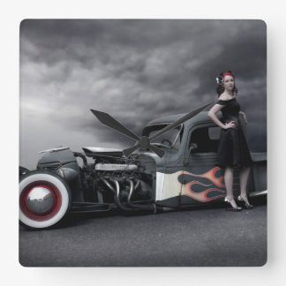 Stormy Night Rat Rod Pickup Truck Pin Up Girls Square Wall Clock