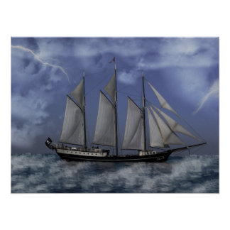 Stormy Ocean - Pirate Ship Artwork Poster