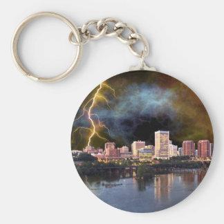 Stormy Richmond Skyline Basic Round Button Keychain