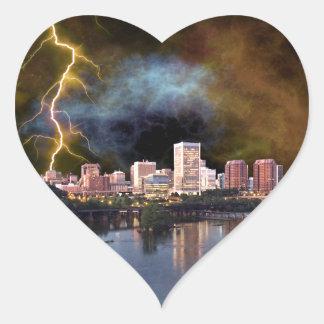 Stormy Richmond Skyline Heart Sticker