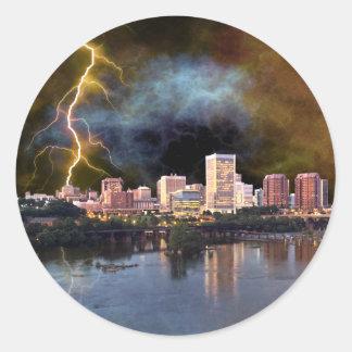 Stormy Richmond Skyline Round Sticker