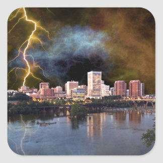Stormy Richmond Skyline Square Sticker
