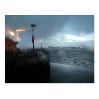 Stormy River Mersey Postcard