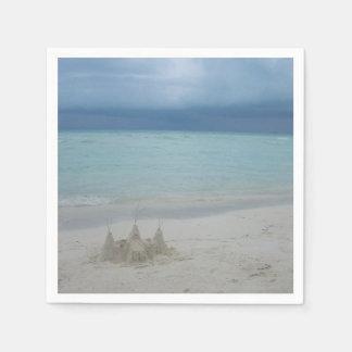 Stormy Sandcastle Beach Landscape Paper Napkin
