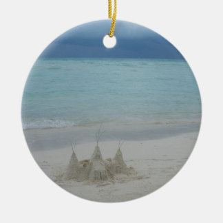 Stormy Sandcastle Beach Landscape Round Ceramic Ornament