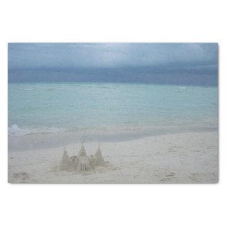 Stormy Sandcastle Beach Landscape Tissue Paper
