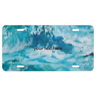 Stormy sea license plate