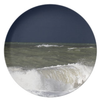 Stormy sea with waves und a dark blue sky. party plate