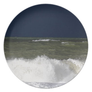 Stormy sea with waves und a dark blue sky. plate