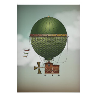 Stormy Skies Airship Citronnier | Steampunk Travel Poster