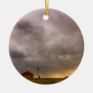 Stormy Skies On The Colorado Plains Round Ceramic Ornament