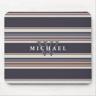 Stormy Stripes Custom Name & Monogram Mouse Pad