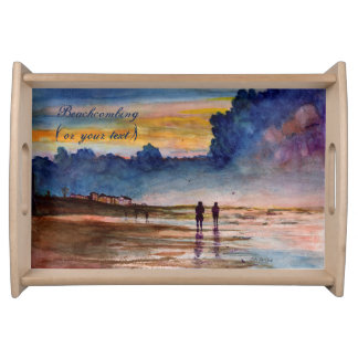 Stormy Sunset Beach Combing Watercolor Seascape Serving Tray