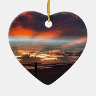 Stormy Sunset Ceramic Ornament