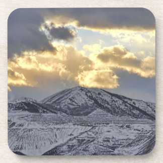 Stormy Sunset Over Snow Capped Mountains Beverage Coasters