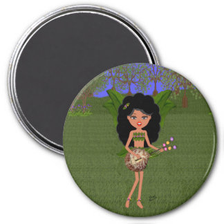 Stormy the Green Winged Faery  with a Guitar 3 Inch Round Magnet