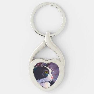 Stormy Tuxedo Cat Keychain